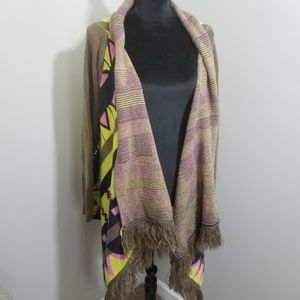 Love Riche Aztec Tribal Drape Cardigan SZ L
